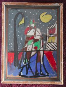 Noční chodec, sněhové vločky ve městě, sign.Fr.Hudeček 44