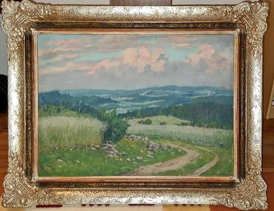 Krásný starý obraz - letní krajina - olej - signováno!