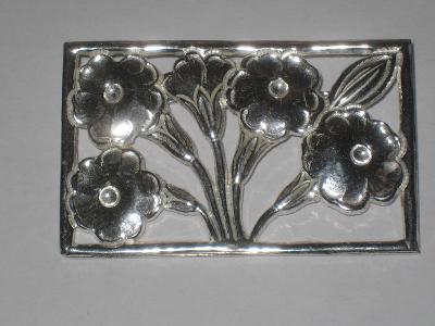 Brož Ag 900/1000 květinový dekor
