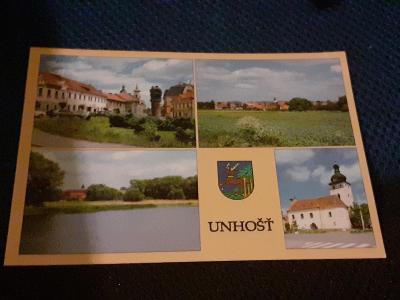 Pohlednice Unhošť,  neprošlé poštou