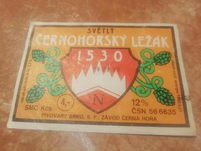 Pivní etiketa Černohorský ležák