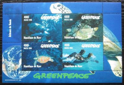 Niger 1998 Mořské želvy Mi# 1472-75 Bogen Kat 20€ 2215