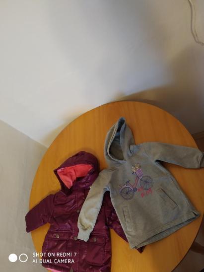 Bunda růžovofialová vel. 80/86 a mikinka vel. 92/98 pro holčičku NOVÉ! - Oblečení