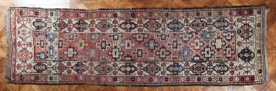 Starožitný kavkazský běhoun Kazak 346 X 102 cm