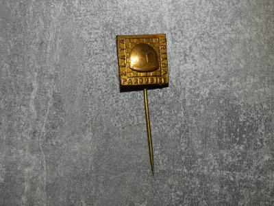 Zlatá přilba Pardubice-plecháček, jeden z nejstarších odznaků
