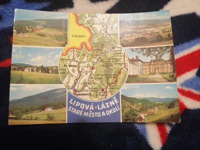 Pohlednice - Lipová, Lázně, prošla poštou