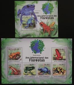Mozambik 2011 Mi.4300-5+Bl.409 24€ - Ochrana a fauna lesů, žáby