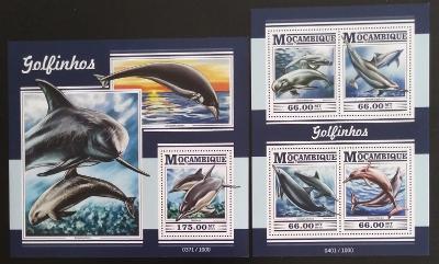 Mozambik 2015 Mi.8174-7+Bl.1075 25€ - Mořské ryby, delfíni a fauna