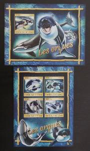 Guinea 2016 Mi.11861-4+Bl.2668 32€ - Fauna moří, kosatky, ryby