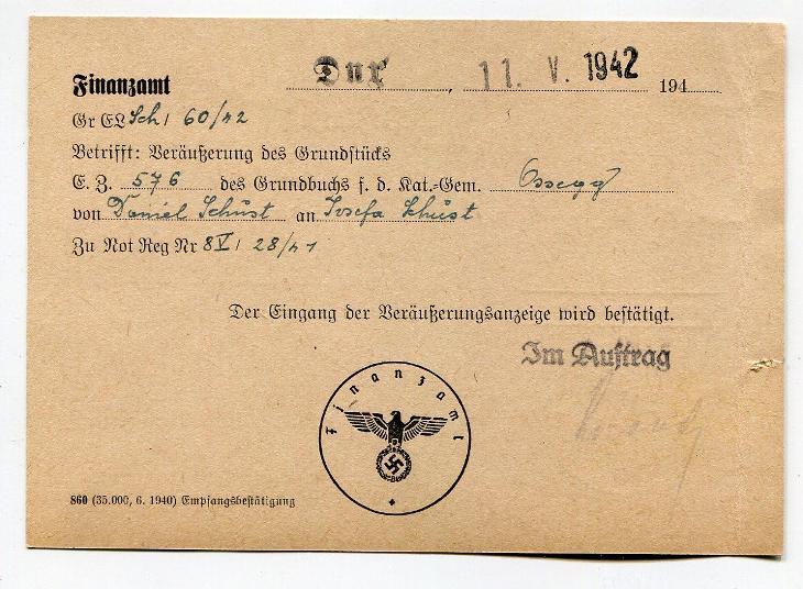 DUCHCOV - ÚŘEDNÍ LÍSTEK FINANČNÍ ÚŘAD 1942 /AS 49 - 1 - Filatelie