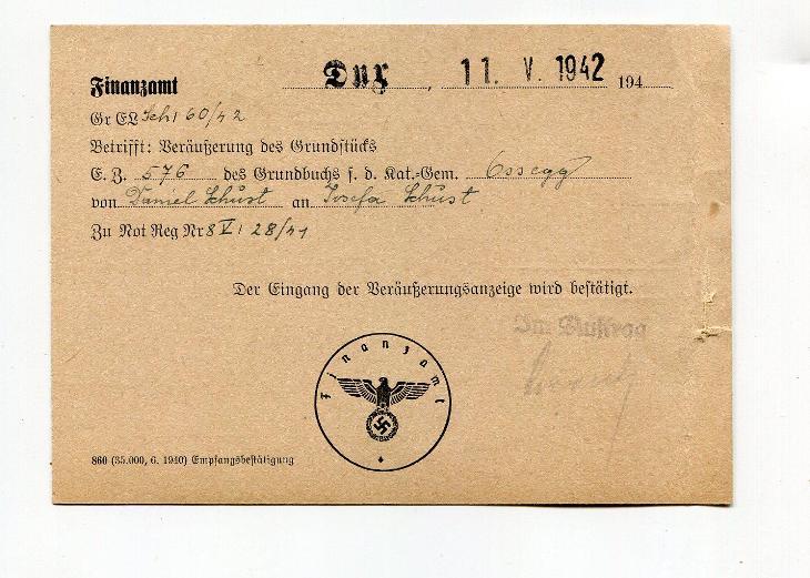 DUCHCOV - ÚŘEDNÍ LÍSTEK FINANČNÍ ÚŘAD 1942 /AS 49 - 2 - Filatelie