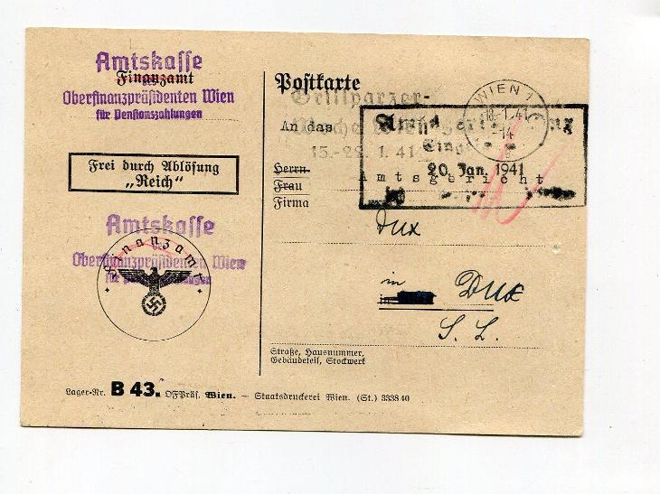 VÍDEŇ  - DUCHCOV - ÚŘEDNÍ LÍSTEK  1941 /AS 49 - 6 - Filatelie