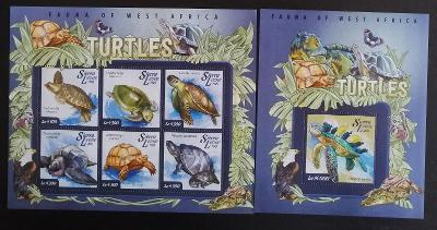 Sierra Leone 2015 Mi.5962-7+Bl.721 18€ - Fauna Západní Afriky, želvy