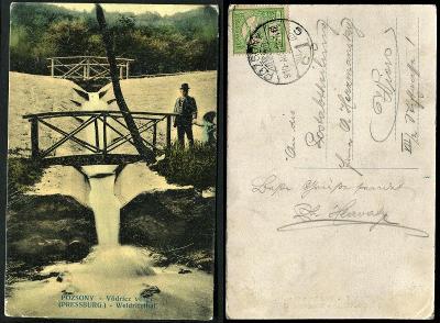 06 SR BA BRATISLAVA Poszony Press. kanál Vydrica mostík ľudia les 1910