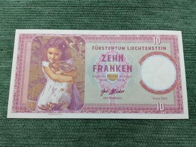 10 lichtenštejnských franků 2019, děvčátko s králíčkem, A01 00782