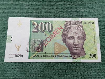 200 makedonských denárů verze B, 0479, stav UNC