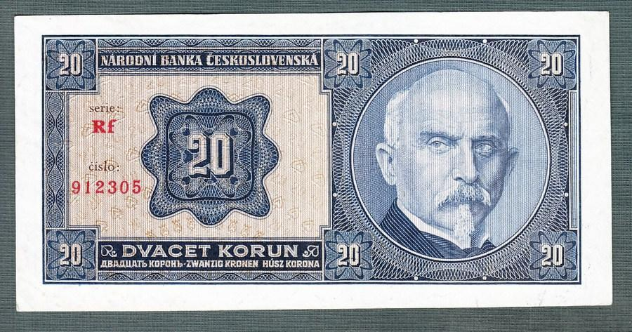 20 korun 1926 serie RF NEPERFOROVANA stav 0 - Bankovky