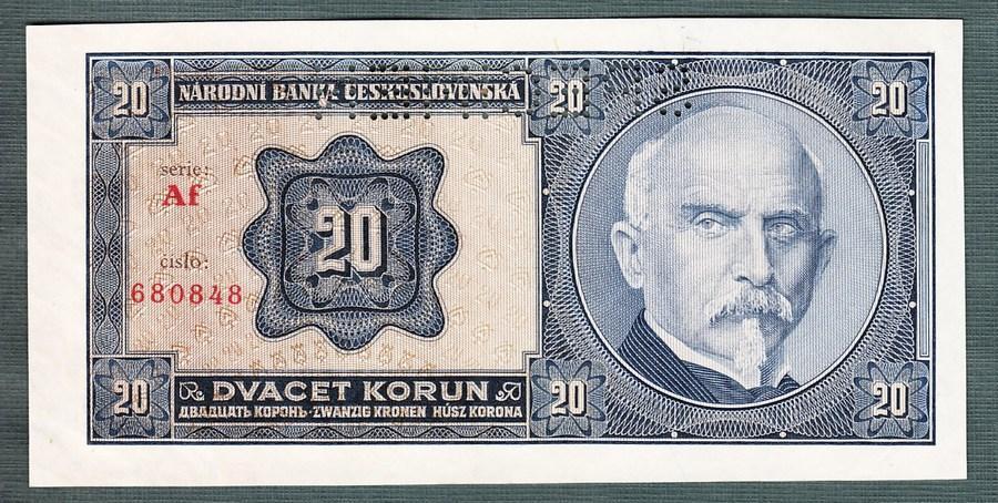 20 korun 1926 serie AF perf. stav UNC - Bankovky