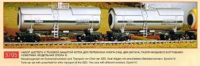 PERESVET 3705 Sada: 2 vozy-cisterny chlorové SZD IV / TT 1:120