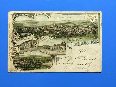 POZDRAV Z JISTEBNICE.1900. ÍTOGRAFÍE.
