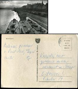 40 SR BA BRATISLAVA Dunaj nábřeží čluny lode vagóny hrad 1960