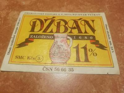 Džbán pivní etiketa