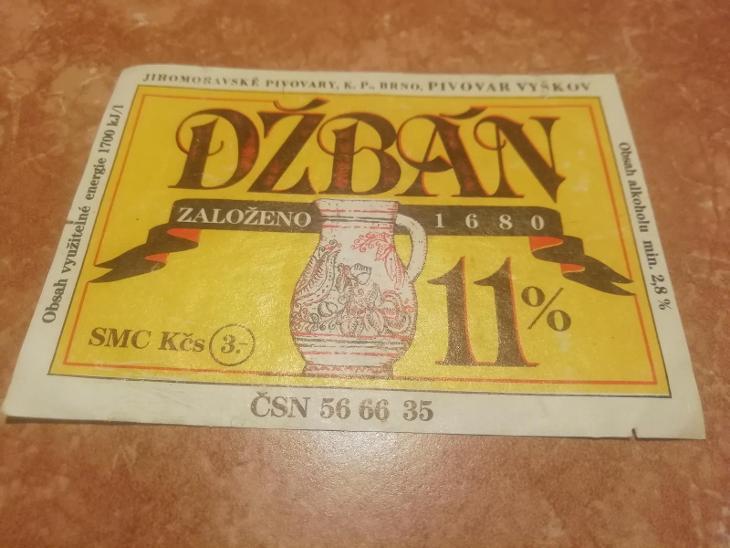 Džbán pivní etiketa  - Nápojový průmysl