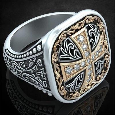 Prsten zednářský řád zlacený zednáři masonský templaři zirkony 19mm