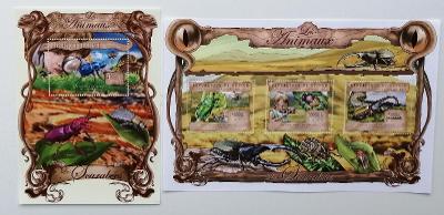 Guinea 2013 Mi.9785-7+Bl.2221 38€ Fauna Afriky, brouci, hmyz