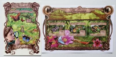 Guinea 2013 Mi.9793-5+Bl.2223 38€ Fauna Afriky, motýli, hmyz