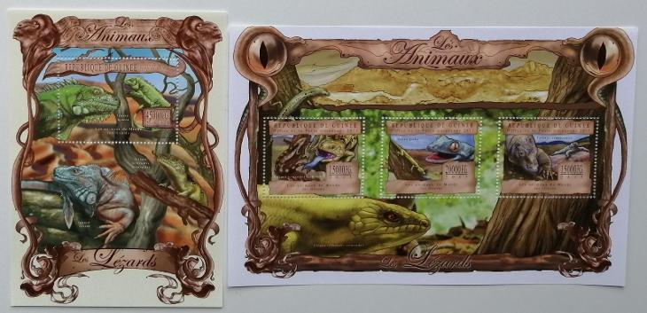 Guinea 2013 Mi.9813-5+Bl.2228 38€ Fauna Afriky, ještěři a plazi - Filatelie