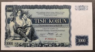1000 korun 1934,serie F,neperforovana,TOP stav UNC !!Vzacna!!