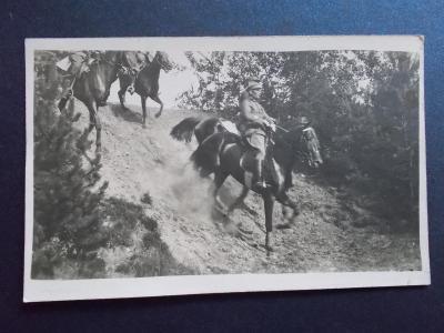 Armáda ČSR První republika Jízda jízdní oddíl koně reál foto pohled