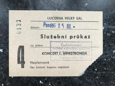 Koncert Louis Armstrong – průkaz pořadatele – 1965, Praha, Lucerna