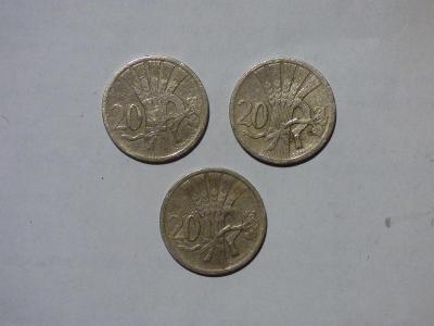 3x 20 Haléř, pěkné stavy-1927, 1924, 1937, přičemž ročník 1927=R!