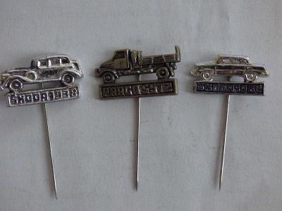3x origo automobilové odznaky-Škoda 1938, Škoda 1964, Praga