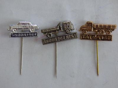 3x origo automobilové odznaky-Škoda 706 RTS1, Škoda 1964, Tatra 138