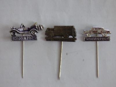3x origo automobilové odznaky-Škoda 1964, Škoda 1929, Škoda 706