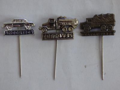 3x origo automobilové odznaky-Praga V35, Škoda 1964, Tatra 1932