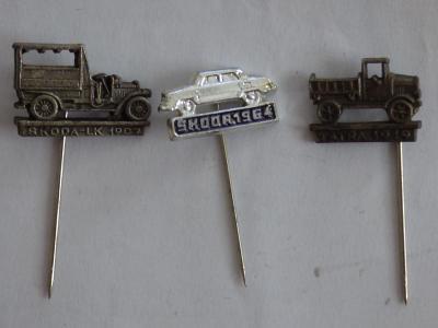 3x origo automobilové odznaky-Škoda LK 1907, Škoda 1964, Tatra 1919
