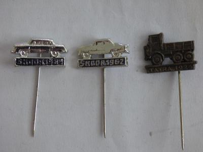 3x origo automobilové odznaky-Škoda 1962, Škoda 1964, Tatra 1926