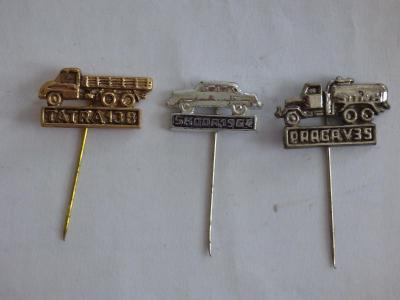 3x origo automobilové odznaky-Škoda 1964, Tatra 138, Praga V35
