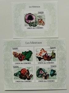 Komory 2009 Mi.2632-5+Bl.562 24€ Africké minerály, nerosty