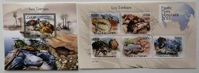 Komory 2011 Mi.3007-1+Bl.624 25€ Africké želvy, plazi a fauna