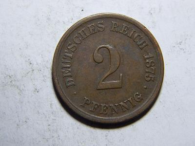 Německo Císařství 2 Pfennig 1875G XF-UNC č29266