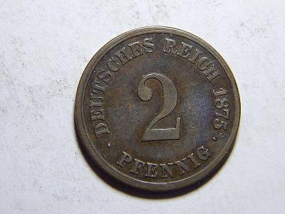 Německo Císařství 2 Pfennig 1875H XF č29218