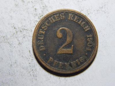 Německo Císařství 2 Pfennig 1904A F č29424