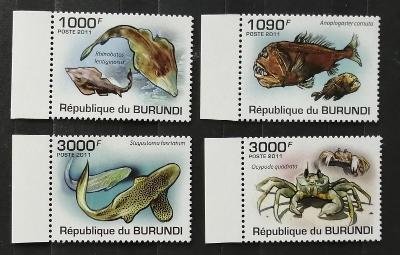 Burundi 2011 Mi.1990-3 9,5€ Mořská fauna, ryby, krabi