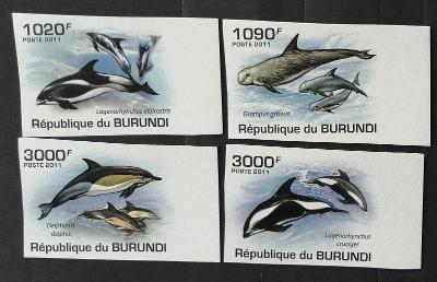 Burundi 2011 Mi.2054-7 9,5€ Delfíni, mořská fauna a ryby, imperf.