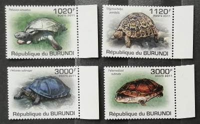 Burundi 2011 Mi.2086-9 9,5€ Africké želvy, plazi a fauna